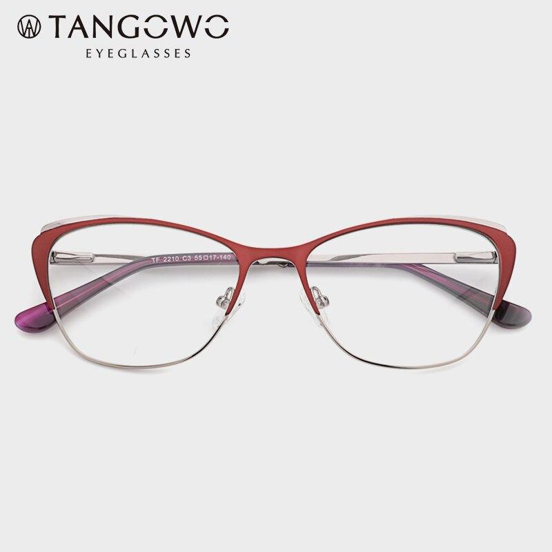 TANGOWO Metal Women Cat Eye Optical Glasses Frame Clear Beautiful Fashion Transparent Grade Computer Eyeglasses Frame For Women