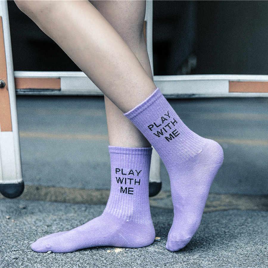 ถุงเท้าผู้หญิงสีม่วงสีขาวสีดำถุงเท้ายาวผ้าฝ้ายถุงเท้าคุณภาพสูงตัวอักษรฤดูใบไม้ร่วงถุงเท้าผู้หญิง