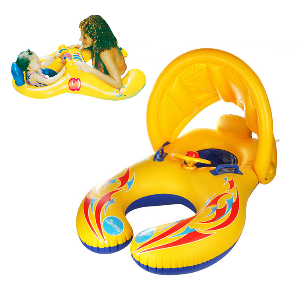 Children Inflatable Circle Parent Kids Double Pool Accessories Child Beach Entertainment Game Toys Baby Floating Swimming Ring