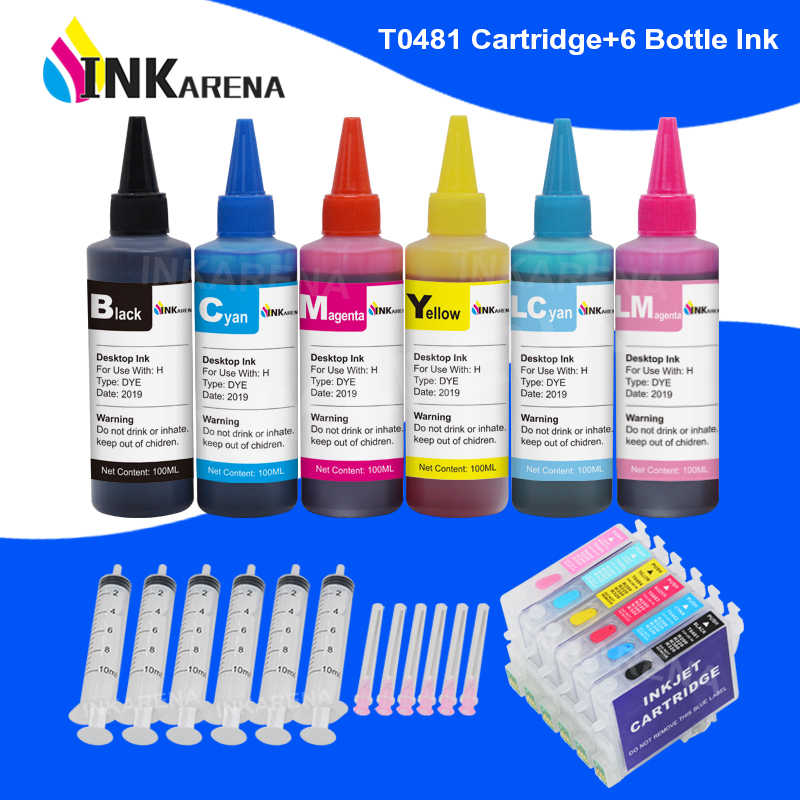 Inkarena Botol Tinta 6 × 100 Ml + T0481-T0486 Isi Ulang Tinta Printer Cartridge untuk EPSON STYLUS PHOTO R200 r220 R300 R300M R320 R340