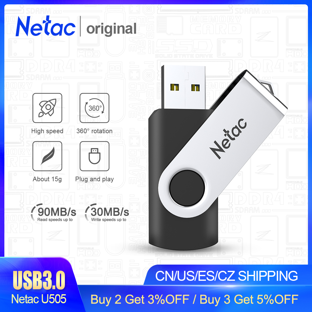 Netac Mental USB Flash Drive 16GB 32GB 64GB 128GB 256GB Pen Drive Pendrive USB 3.0 Flash Drive Memory Stick USB Disk Black Color
