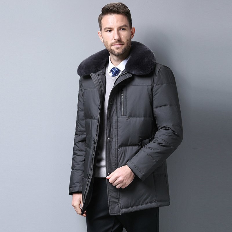 Winter Duck Down Jacket Men Middle-aged Parka Plus Size Warm Coat Real Fur Collar Puffer Jacket Casaco Masculino KJ657