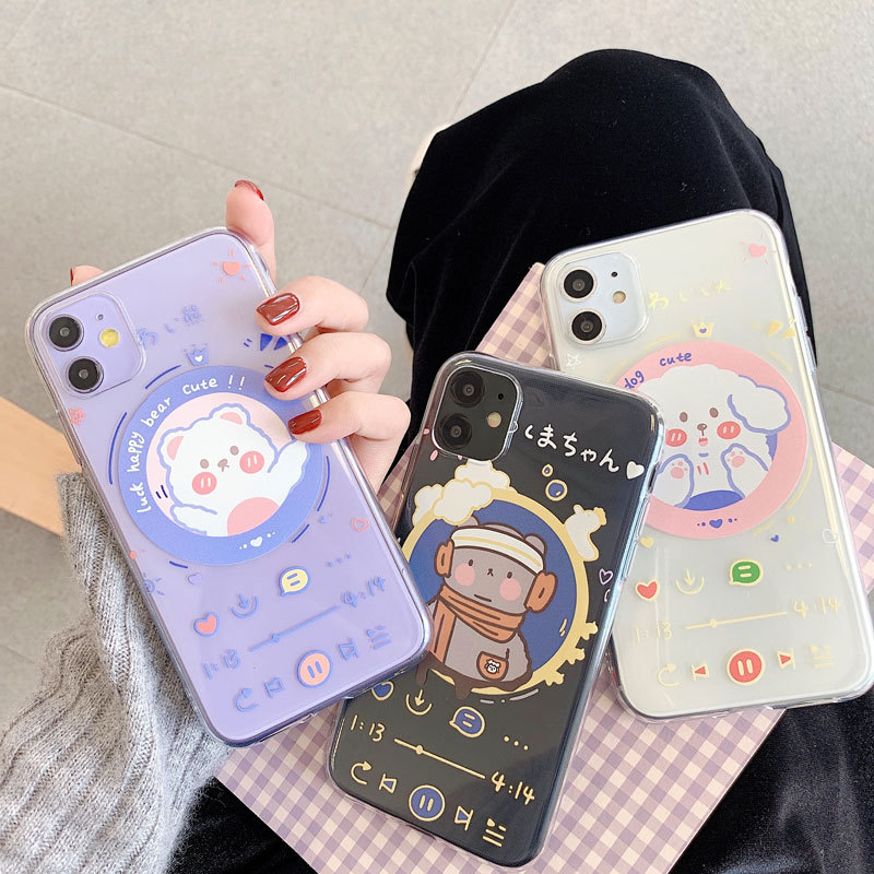 2020 Original Cartoon Animals Dog Bear Player Cases For Iphone 11 11PROMAX 11PRO 6 6S 7 8 6Splus 6Plus 7Plus 8Plus X XS XSMAX XR