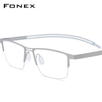 цена на FONEX B Titanium Glasses Frame Men New Prescription Eye Glasses Semi Rimless Square Eyeglasses Myopia Optical Eyewear 872