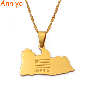 Anniyo LIBERIA Map Flag Gold Color Charms Pendant Necklaces Liberians Jewellery Middle East #001021 image