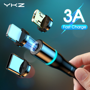 YKZ Magnetic Cable Type C Micro USB Cable 3A Quick Charger 3.0 Wire Cord Fast Charge For iPhone 12 Samsung USB-C Mobile Phone 11