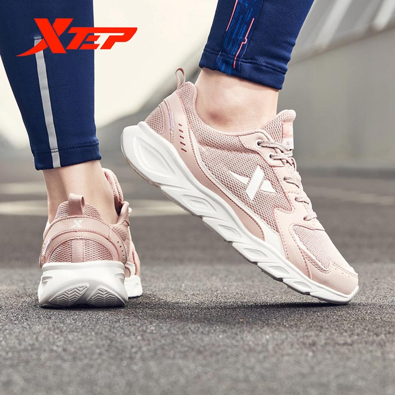 Xtep Women's Running Shoes Autumn Solid Color Lace-Up Sport Shoes Women Outdoor Shock Absorption Anti-Slip Sneakers 880118110106