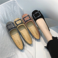 Big Size 35-44 2021 Spring Women Boat Shoes Ladies Wedding Flats Female Footwear Suede Solid Square Button Black Pink Gray Khaki
