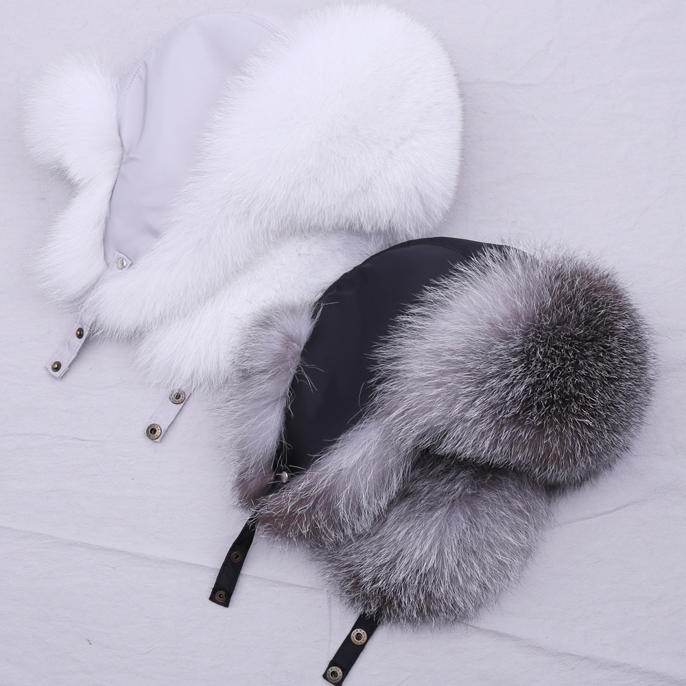 SUPPEV&STTDIO 100% Real Fur Hat For Women Natural Silver Fox Fur Russian Ushanka Hats Winter Thick Warm Ears Fashion Bomber Cap