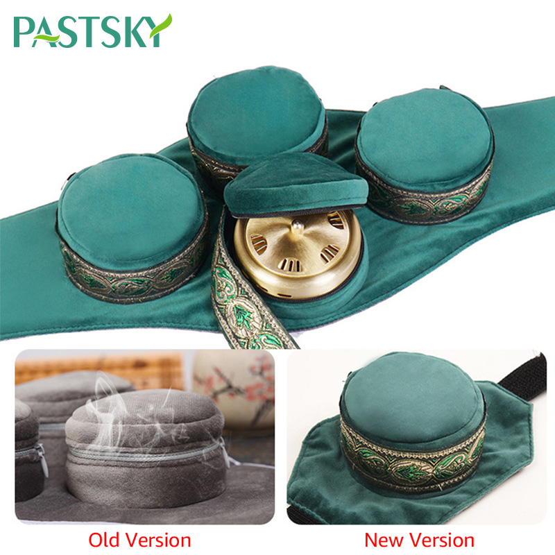 Green Velvet Bag Smokeless Moxibustion Box Chinese Moxa Sticks Burner Acupuncture Meridian Heating Therapy Warm Pain Relief
