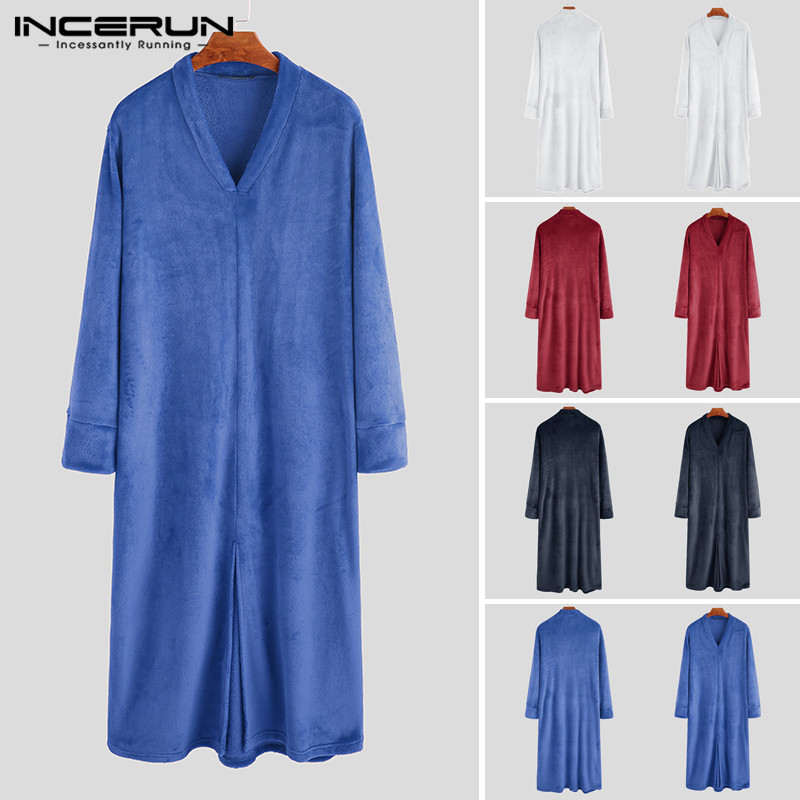 INCERUN Fashion Men Flannel Robes Long Sleeve Cozy V Neck Warm Bathrobes Nightgown 2019 Winter Ladies Coral Fleece Dressing Gown