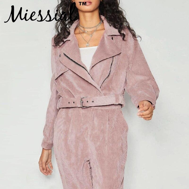 Miessial Pink corduroy streetwear short   jacket   coat Women winter autumn belt casual   basic     jackets   2019 Ladies fashion chic coat