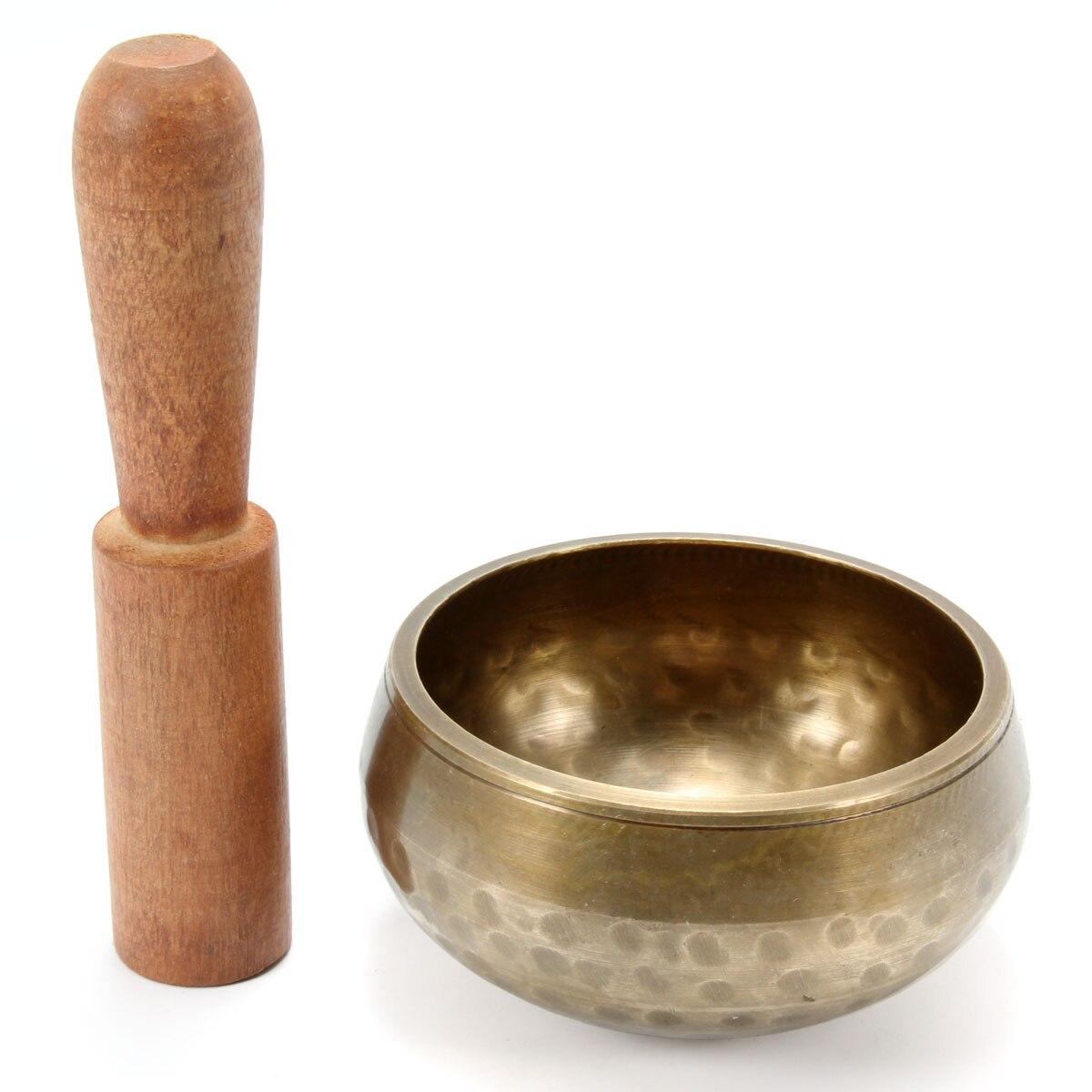 Buddhism Brass Yoga Tibetan Singing Bowl with Wooden Hand Hammered Chakra Buddhist Meditation Gift Home Decor Ornaments|Bowls & Plates| |  - title=