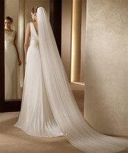 Véu de noiva longo branco/marfim simples véu de noiva com pente véu catedral para noiva velo de novia barato acessórios de casamento 300cm