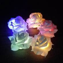 Romantic Rose Flower LED Nightlight Changing 7 Colors Flameless Candle Lights Lamp for Wedding Party Christmas Home Decor(China)
