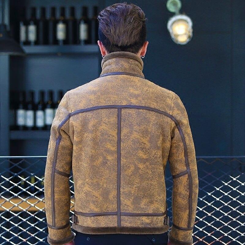 Genuine Leather Jacket New Motorcycle Coat Biker Black Real Sheepskin Leather Shearing Overcoat Outwear LM-170152 LX2355