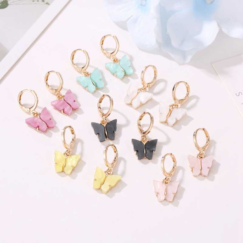 Novo brincos femininos moda cor acrílico borboleta brincos do parafuso prisioneiro animal doce colorido brincos meninas jóias