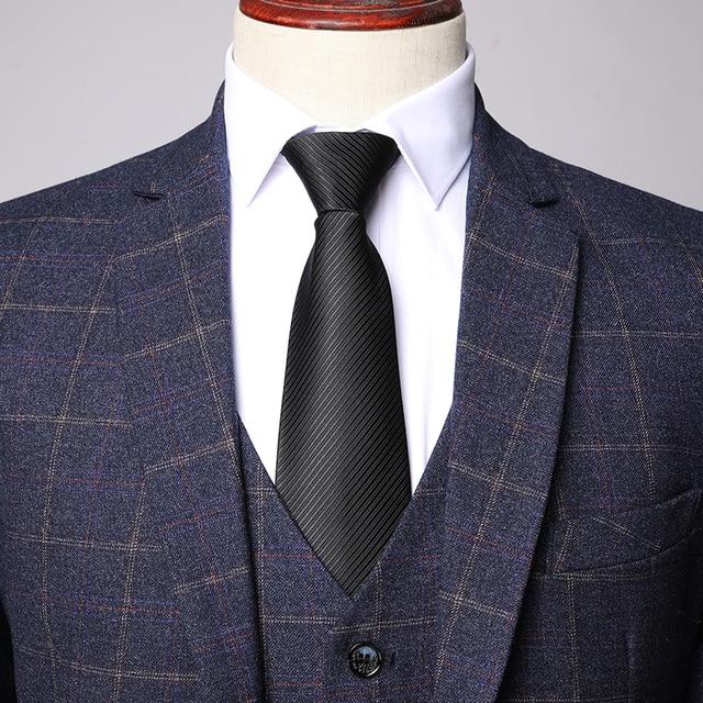 Three-piece Male Formal Business Plaids Suit for Men's Fashion   4