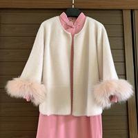 New Autumn Women real fox Fur Cape Shawl Cardigan beige Women Tassel Knit Cardigan Sweater Mink cashmere Warm Coat
