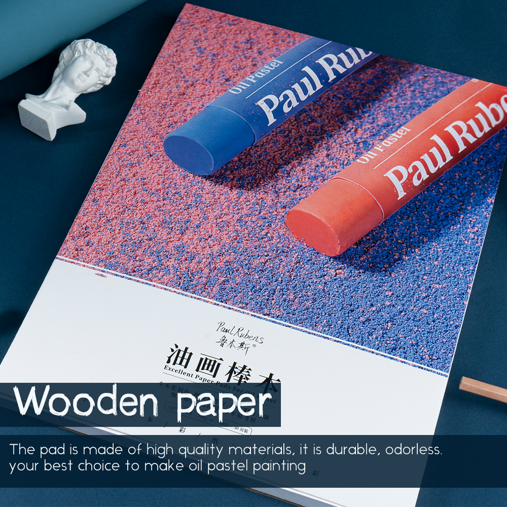 Paul Rubens Oil Pastel Drawing Paper Pad, Hot Press Wooden Paper 112lbs/240gsm, 30 sheets, Excellent Paper Pad for Oil Pastel