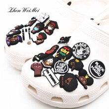 Обувь аксессуары черный человек права обувь талисманы аксессуары черный девушка магия обувь украшение для Jibz дети вечеринка рождество подарки