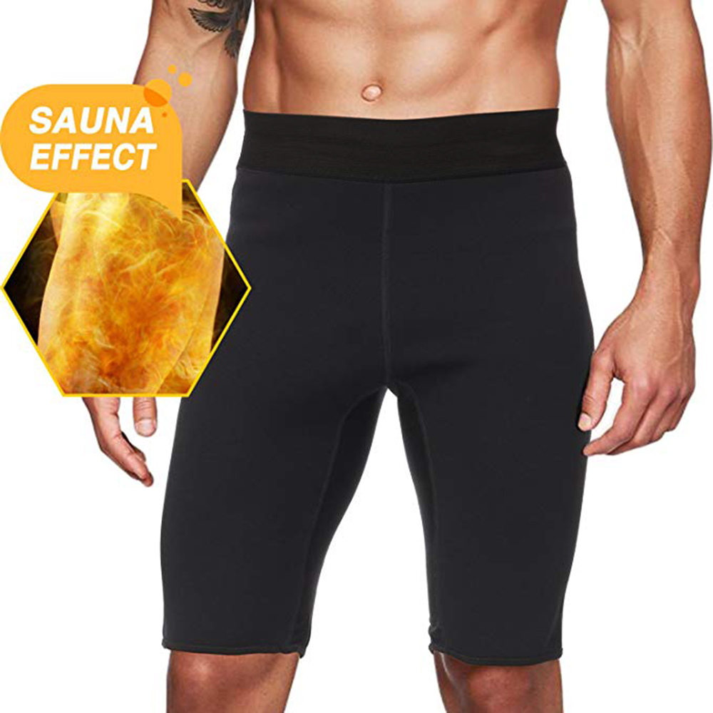 2019 Men's Hot Sweat Sauna Shorts Thermo Slimming Shorts Male Pro Sports Tights Shorts Black Bodybuilding Slim Fit Bottom