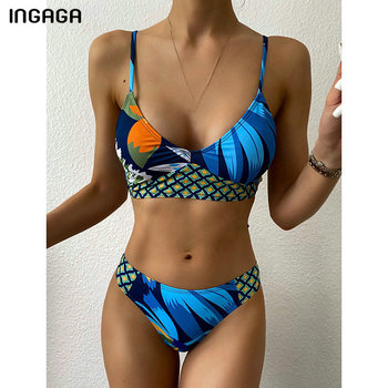 INGAGA Push Up Bikinis Swimsuits Strap Swimwear Women Printing Biquini Bathing Suits Tropical Bikini Set 2021 New Beachwear - discount item  40% OFF Swimwears