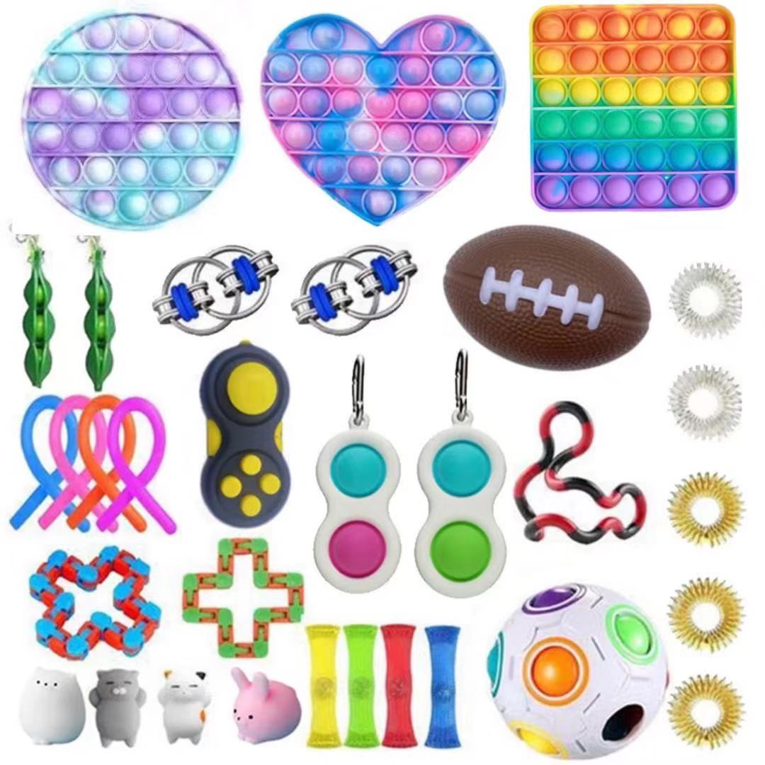 Fidget-Toys Gift-Pack Anti-Stress-Set Relief Pop-It Stretchy-Strings Sensory Squishy