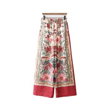 2020 Chinese Style Loose Print Elastic Waist Full Length Wide-leg Pants Women