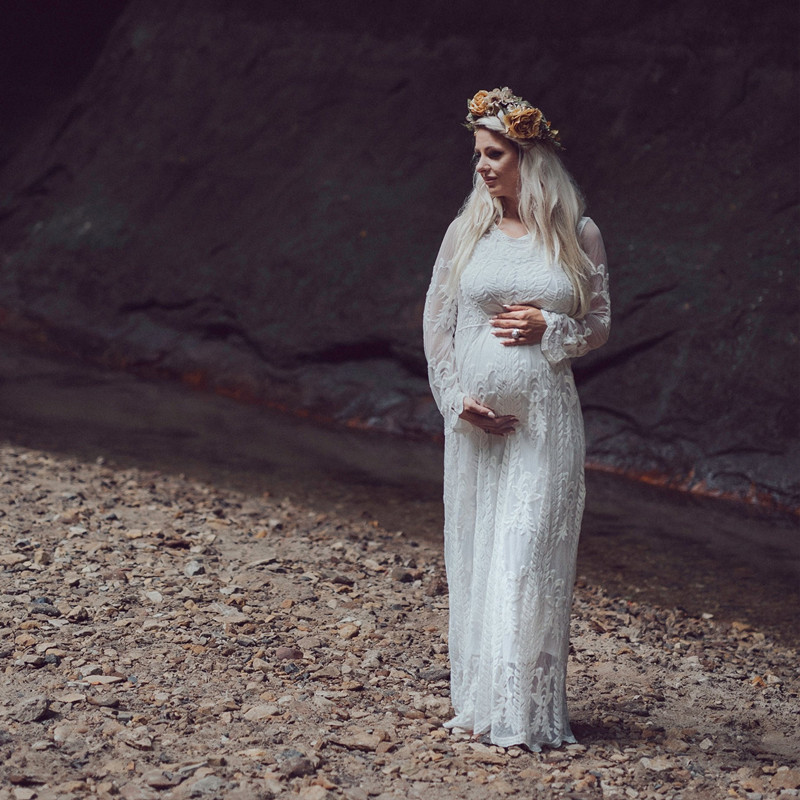Elegence Pregnancy Maxi Dress Photography Prop Long Lace White Baby Shower Dresses Maternity Gown For Pregnant Women Photo Shoot (2)