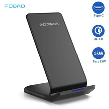 FDGAO チーワイヤレス充電器 iPhone 用スタンド 11 プロ X XS 最大 XR 8 プラスサムスン S9 S10 S10E 15 ワット高速ワイヤレス充電ドックステーション