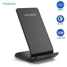 Fdgao qi suporte do carregador sem fio para iphone 11 pro x xs max xr 8 plus samsung s9 s10 s10e 15 w rápido estação doca de carregamento sem fio