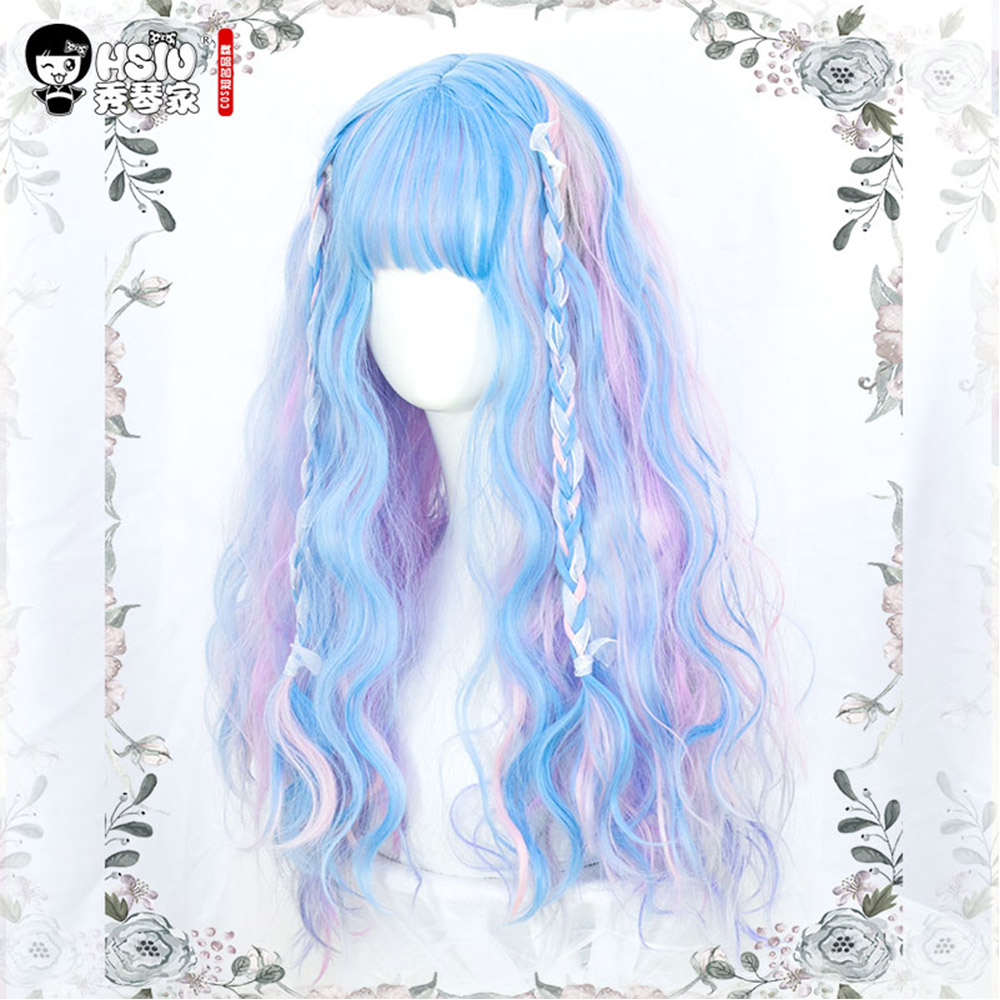 Image 4 - Soft sister Lolita Wig Harajuku UnicornRainbow Macaron Little fairy Marshmallow colored candy dreamy fluffy Double ponytail hairGirls Costumes   -
