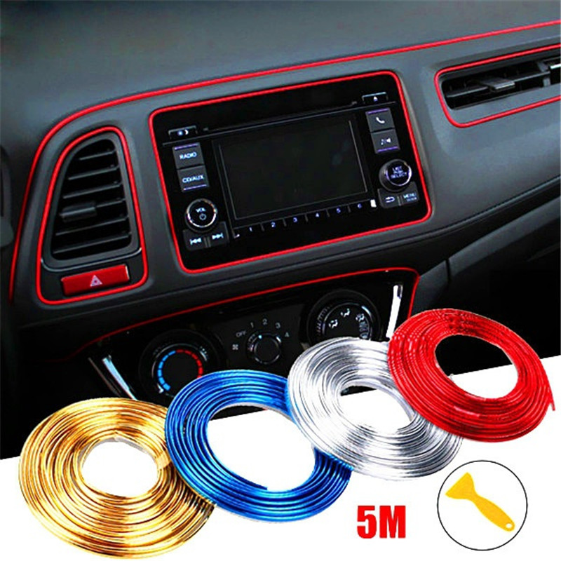 5 M Adhesive Strips For Car Interior Molding Door Line Air Vent Panel Direction-Flexible Wheel In Car Styling Auto Accessories