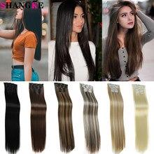 Synthetische Lange Rechte Haar 16 Clips In Haarverlenging Nep Haarstukje Clip In Hair Extension Hittebestendige Ombre Blond Bruin