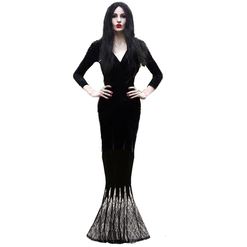 Mens Womens Gomez Morticia Witch Adult Halloween Family Fancy Dress Costume