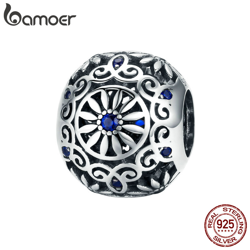 BAMOER Bangles Jewelry Bracelets Charms-Fit Beads Daisy 925-Sterling-Silver Women Flower