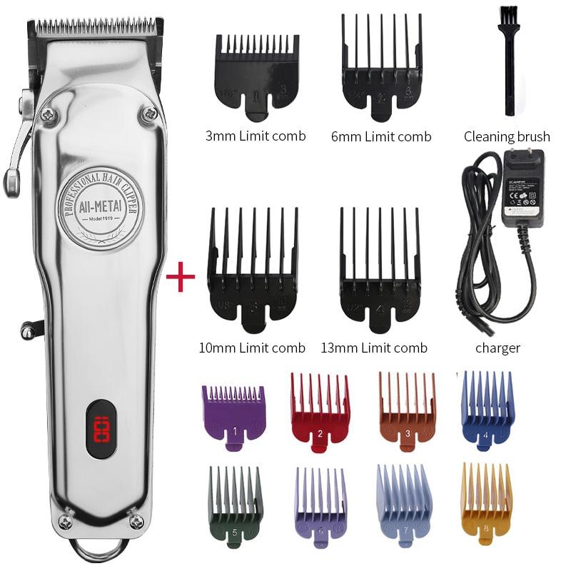 All-metal Barber Hair Clipper Professional Electric Hair Trimmer Men Cordless Hair Cutter Machine Hair Cut Magic Rechargeable