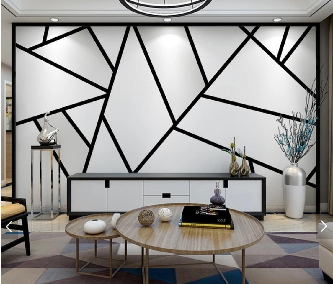 3d Abstrak Geometri Sederhana Hitam Putih Segitiga Line Foto Wallpaper Lukisan Dinding Untuk Ruang Tamu Kamar Tidur Dinding Dekorasi Custom Wallpaper Aliexpress