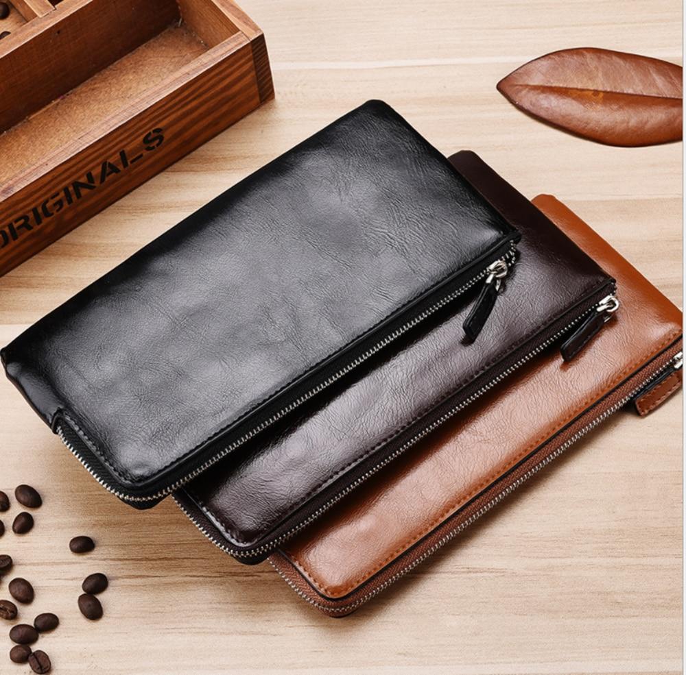 New Men's Long Wallet Korean Youth Zipper Men's Mobile Phone Bag Ultra Thin Wallet Mobile Phone Card Bag