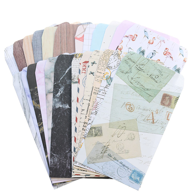 6pcs Cute European Retro Feeling Paper Envelope Paper Children'S Gift School Material Beautiful Marbled Wood Grain Envelope