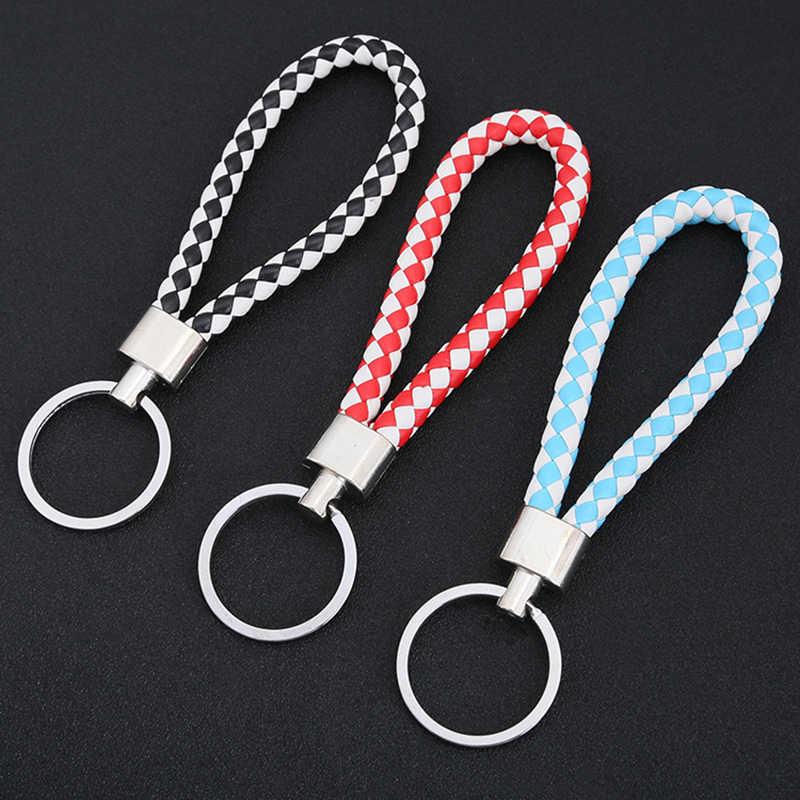 Braided PU Leather Cord Strap Key Chain Car Key Holder Keyring Charm Bag Pendant