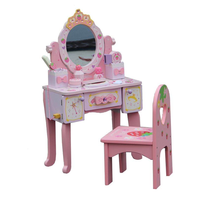 Wooden Children's Dressing Table Toy 3-4-5-6-7 Year Old Girl Makeup Haircut Simulation Play Baby Gift
