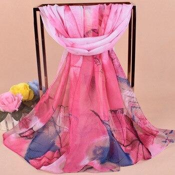Matagorda 2019 New Women Scarves Chiffon Leaves Pattern Muslim Hijab Scarf Fashion Head Orange Pink Blue Luxury Headwear
