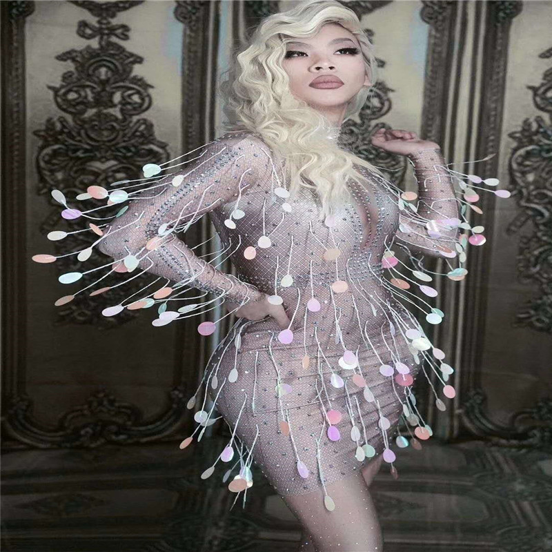 S35 Singer stage wears dj costumes colorful sequins female stretch sexy pole dance dress rhinestones hip skirt crystal outfit ds