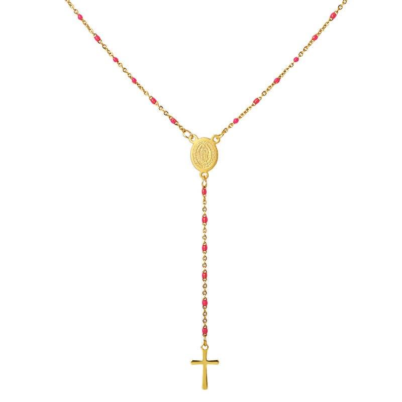 Крест религия длинное ожерелье с подвеской для женщин Jwelry красочные бусы из нержавеющей стали ожерелье чокер ожерелье с цепочкой христианский