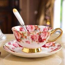 1Pc 200ml Europe Vintage Flower Bone Tea Cup Saucer Spoon Set Advanced Porcelain Coffee Cups British Cafe Afternoon Teacup
