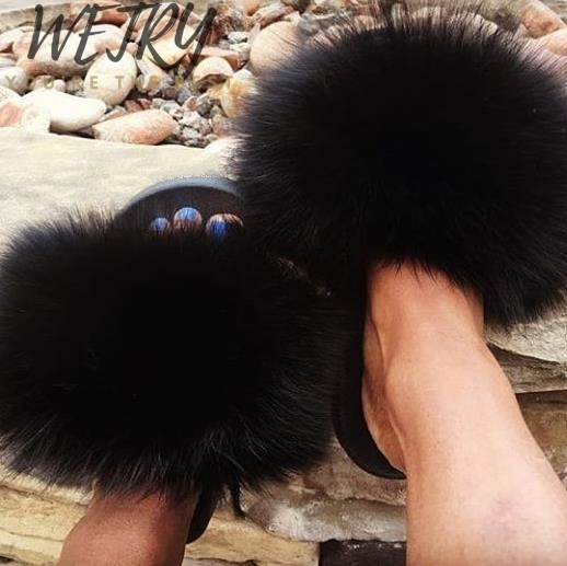 Women Summer Slippers Flat Fox Fur Slippers Nature Real Fur Beach Slippers Flat Slides Beach Sandals Lady Plush Furry Slides