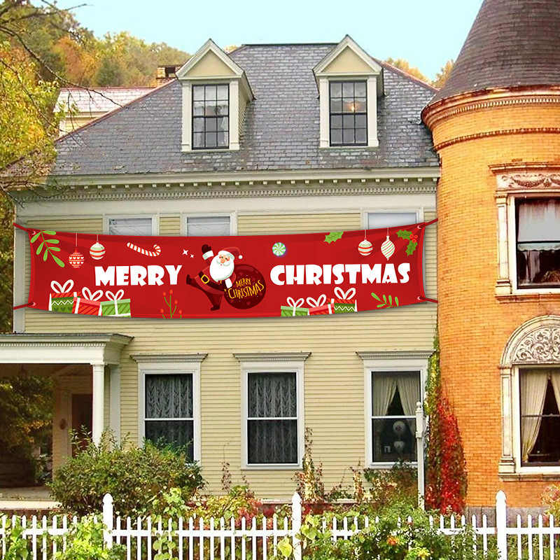 Nuovo Buon Natale Banner Di Natale Decorazioni per la Casa Negozio All'aperto Banner Bandiera Tirare 2020