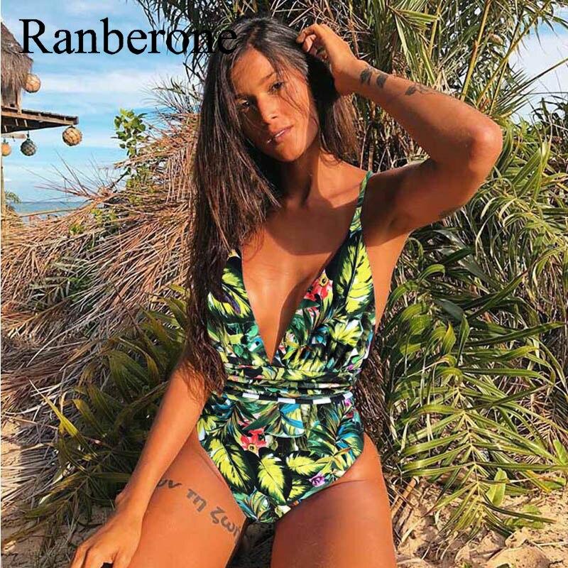 Hot DealsNew Women Sexy Bikini One Piece Swimsuit Print Floral Retro Thong High Waist Bodysuit Backless High Cut Swimwear Deep V Suit